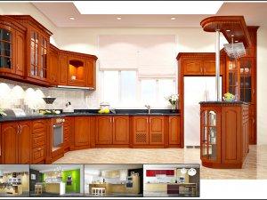 Tủ bếp gỗ gõ đỏ 7