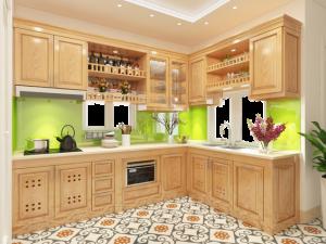 Tủ bếp gỗ sồi Nga 26